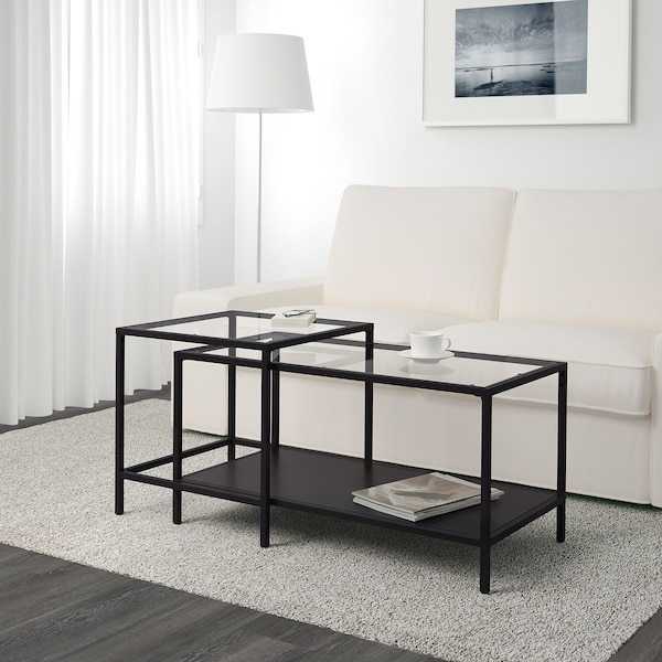 VITTSJÖ طاولات متداخلة، طقم من 2., أسود-بني/زجاج, 90x50 سم