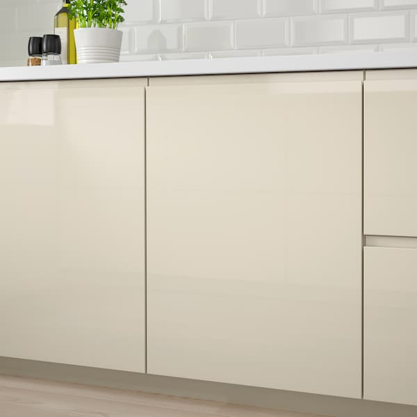 VOXTORP Door, high-gloss light beige, 20x80 cm