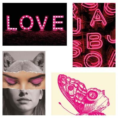 YLLEVAD بطاقة فنية, شغف اللون الوردي, 10x15 سم