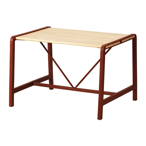 YPPERLIG Children's table, beech, dark red