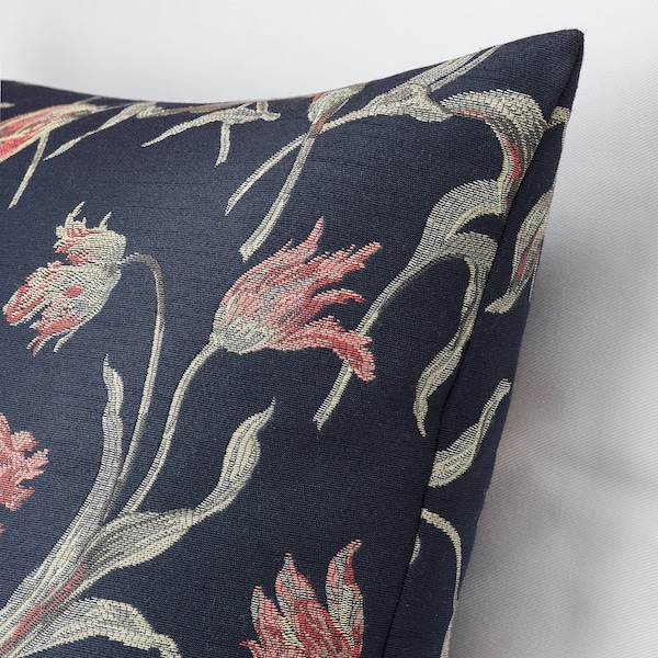 ÅLANDSROT Coixí, blau fosc/estampat de flors, 50x50 cm