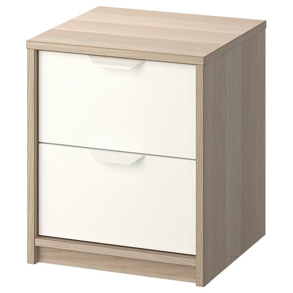 ASKVOLL Calaixera de 2 calaixos, efecte roure tenyit blanc/blanc, 41x48 cm