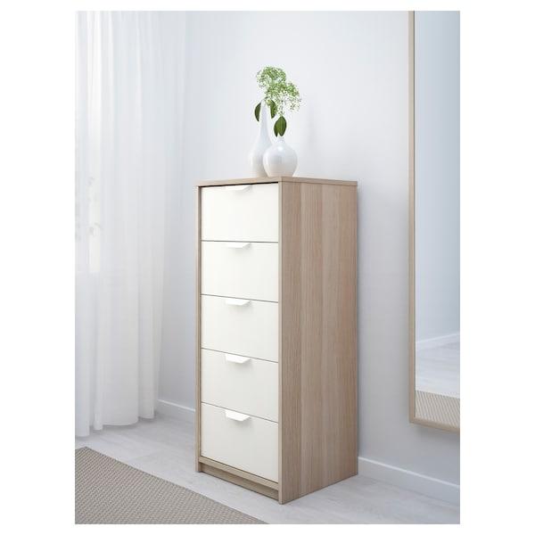 ASKVOLL Calaixera de 5 calaixos, efecte roure tenyit blanc/blanc, 45x109 cm