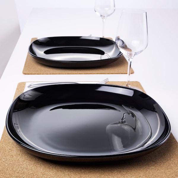 BACKIG Plat, Negre, 25x25 cm