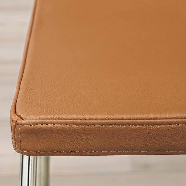 BERNHARD Tamboret alt amb respatller, cromat/Mjuk marró daurat, 66 cm