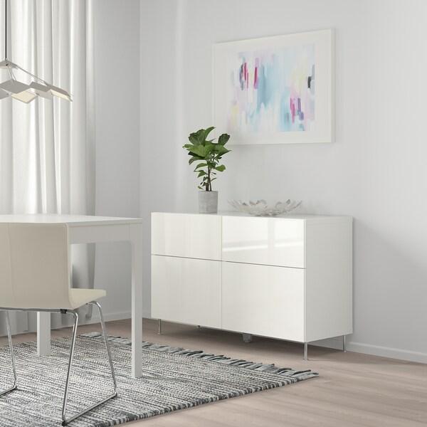 BESTÅ Combi emmagatz portes/calaixos, blanc/Selsviken/Stallarp alta lluentor/blanc, 120x40x74 cm