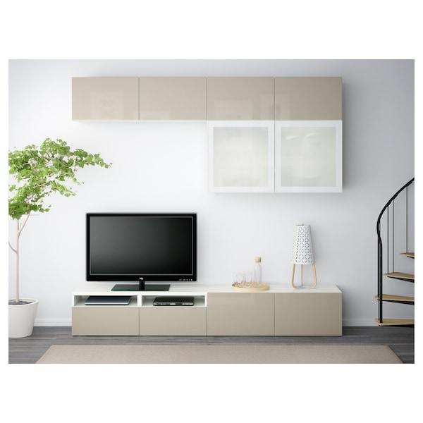 BESTÅ Combinació emmagt. TV/portes vidre, blanc/Selsviken brillant/vidre esmerilat beix, 240x40x230 cm