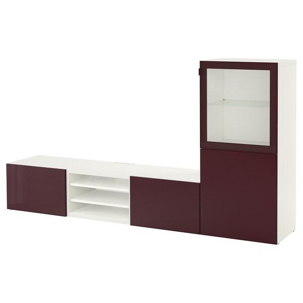 BESTÅ Combinació emmagt. TV/portes vidre, blanc Selsviken/marró rogenc fosc vidre incolor, 240x42x129 cm