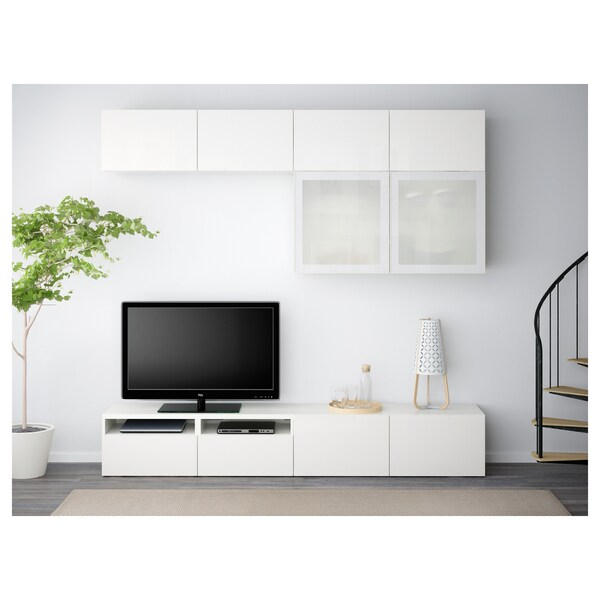 BESTÅ Combinació emmagt. TV/portes vidre, blanc/Selsviken vidre esmerilat blanc/alta lluentor, 240x40x230 cm