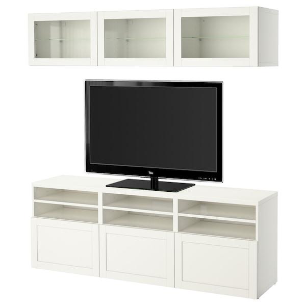 BESTÅ Combinació emmagt. TV/portes vidre, Hanviken/Sindvik vidre transparent blanc, 180x40x192 cm