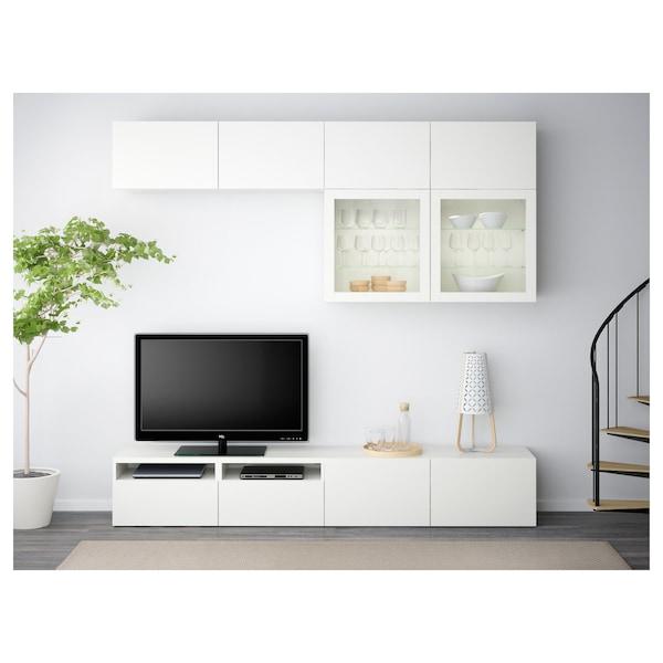 BESTÅ Combinació emmagt. TV/portes vidre, Lappviken/Sindvik vidre transparent blanc, 240x40x230 cm