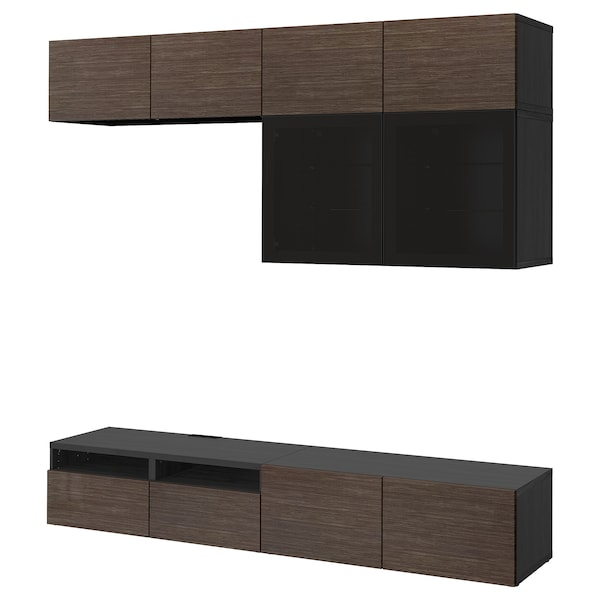 BESTÅ Combinació emmagt. TV/portes vidre, negre-marró/Selsviken vidre fumat marró/alta lluentor, 240x40x230 cm