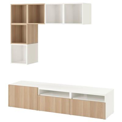 BESTÅ / EKET Combinació moble de TV, blanc/efecte roure tenyit blanc, 180x42x170 cm