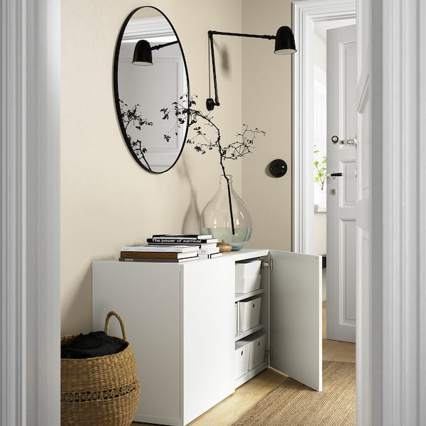 BESTÅ Emmagatzematge amb portes, blanc/Lappviken blanc, 120x42x65 cm