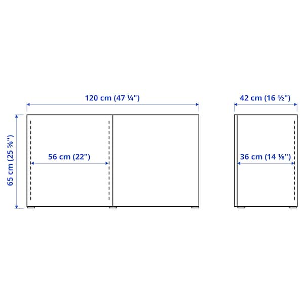 BESTÅ Emmagatzematge amb portes, blanc/Selsviken alta lluentor/blanc, 120x42x65 cm