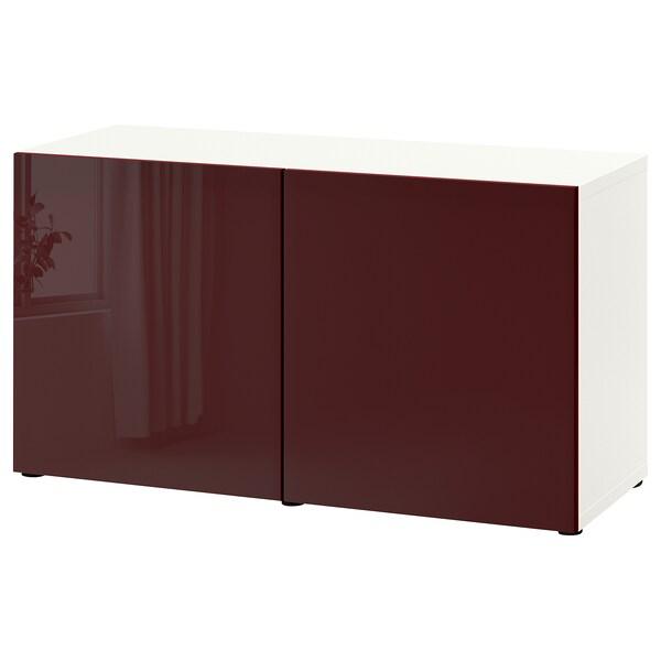 BESTÅ Emmagatzematge amb portes, blanc Selsviken/alta lluentor marró rogenc fosc, 120x42x65 cm