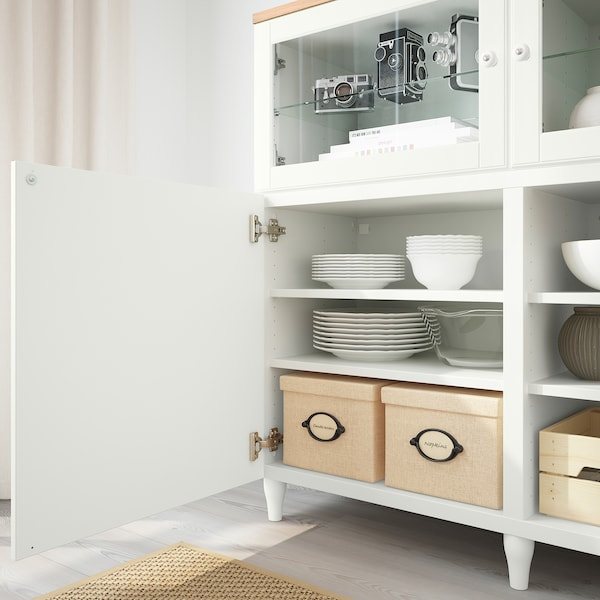BESTÅ Emmagatzematge amb portes, blanc/Smeviken/Kabbarp vidre transparent blanc, 180x42x114 cm