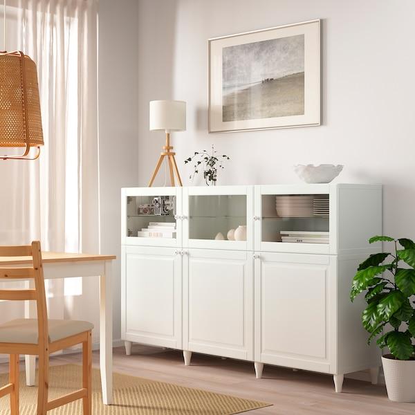 BESTÅ Emmagatzematge amb portes, blanc/Smeviken/Kabbarp vidre transparent blanc, 180x42x112 cm