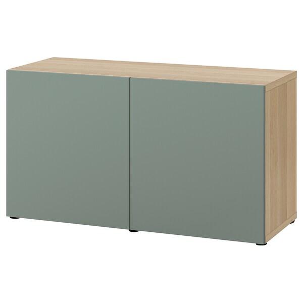 BESTÅ Emmagatzematge amb portes, efecte roure tenyit blanc/Notviken verd grisenc, 120x42x65 cm