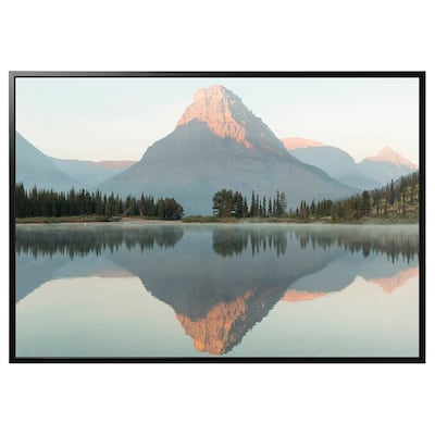 BJÖRKSTA Làmina amb marc, alba, Montana/Negre, 200x140 cm