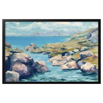 BJÖRKSTA Làmina amb marc, badia costanera/Negre, 118x78 cm
