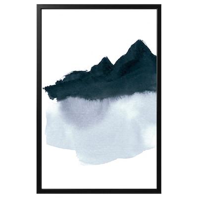 BJÖRKSTA Làmina amb marc, Mountainscape minimal/Negre, 78x118 cm