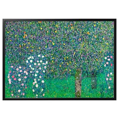 BJÖRKSTA Làmina amb marc, roses sota els arbres/Negre, 140x100 cm