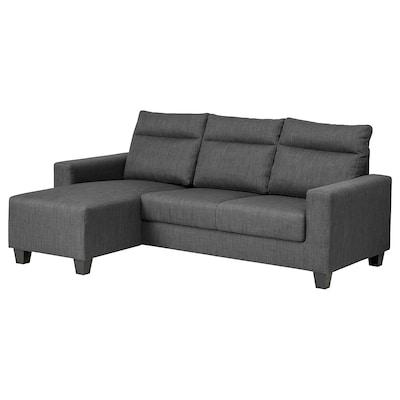 BOLLSTANÄS Sofà de 3 places, amb chaise longue/Skiftebo gris fosc