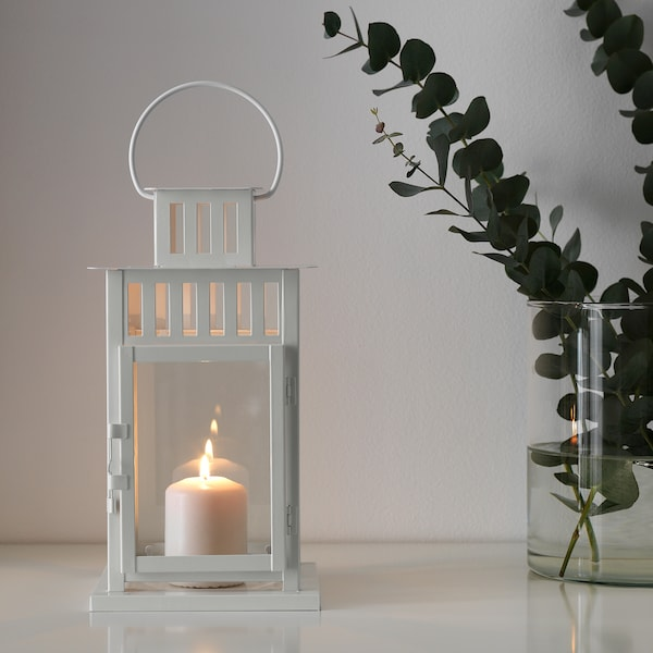 BORRBY Fanal per espelma gran, interior/exterior blanc, 28 cm
