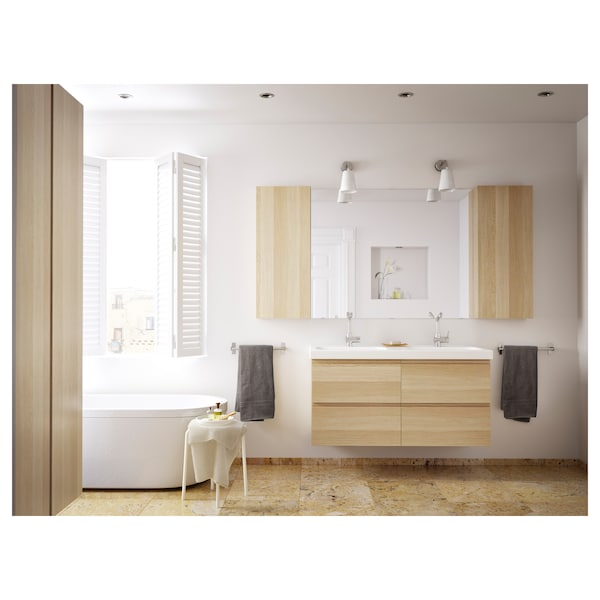 BRÅVIKEN Lavabo doble, blanc, 120x48x10 cm
