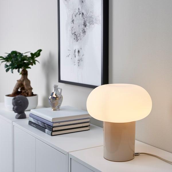 DEJSA Llum de taula, beix/blanc òpal vidre, 28 cm