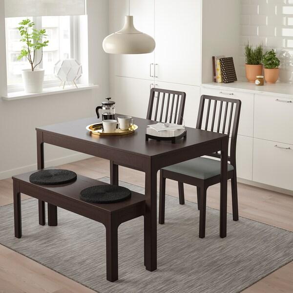 EKEDALEN / EKEDALEN Taula amb 2 cadires i banc, marró fosc/Orrsta gris clar, 120/180 cm