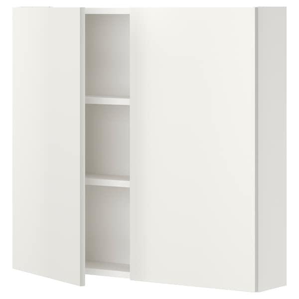 ENHET Armari paret+2lleixes/portes, blanc, 80x15x75 cm