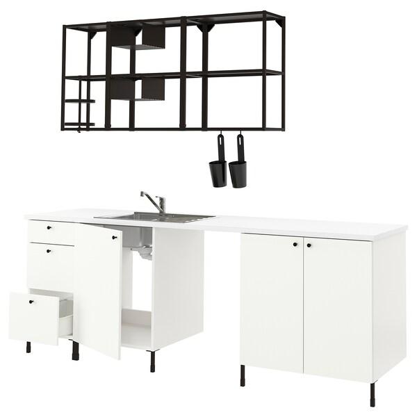 ENHET Cuina, antracita/blanc, 243x63.5x222 cm