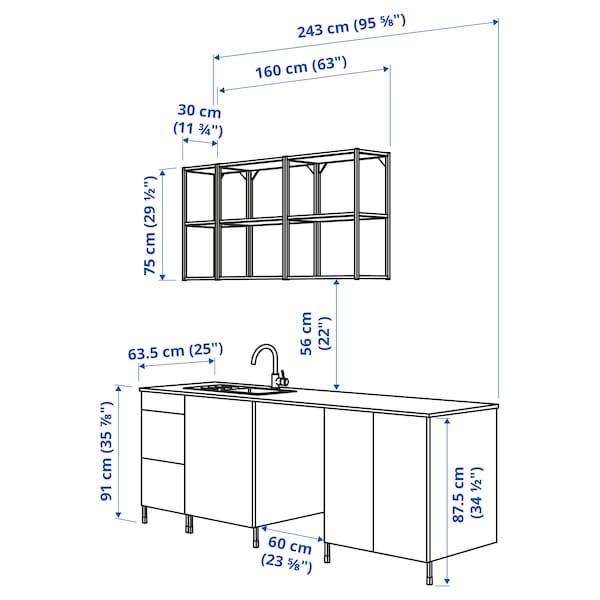 ENHET Cuina, antracita/gris estructura, 243x63.5x222 cm