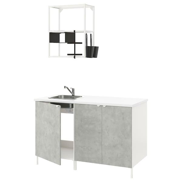 ENHET Cuina, blanc/efecte ciment, 143x63.5x222 cm