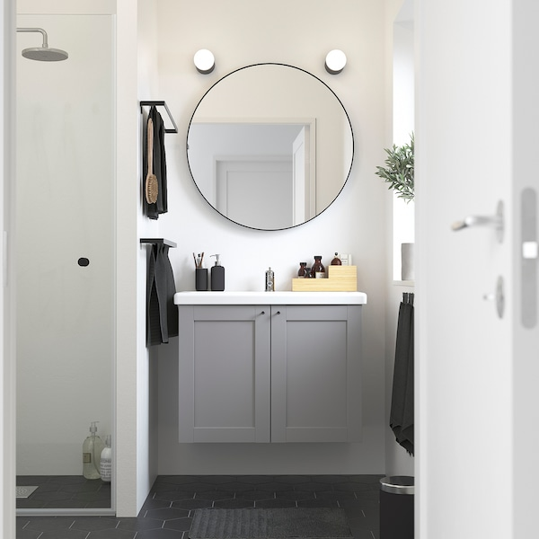 ENHET / TVÄLLEN Armari per lavabo amb 2 portes, gris estructura/gris Aixeta Pilkån, 84x43x65 cm