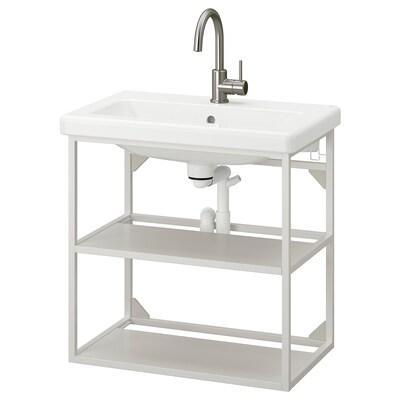 ENHET / TVÄLLEN Moble/lavabo obert 2 lleixes, blanc/aixeta GLYPEN, 64x43x65 cm