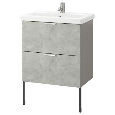 ENHET / TVÄLLEN Moble per lavabo amb 2 calaixos, efecte ciment/gris Aixeta Pilkån, 64x43x87 cm