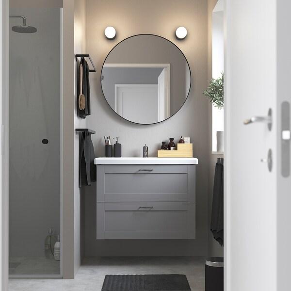 ENHET / TVÄLLEN Moble per lavabo amb 2 calaixos, gris estructura/gris Lillsvan aixeta, 84x43x65 cm