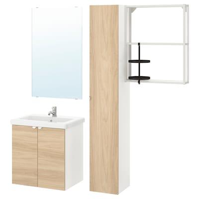 ENHET / TVÄLLEN Mobles de bany, joc de 13, efecte roure/blanc Aixeta Pilkån, 64x43x65 cm