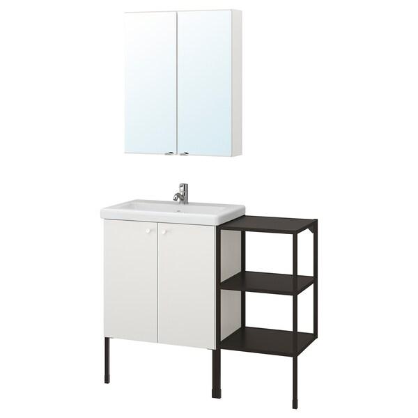 ENHET / TVÄLLEN Mobles de bany, joc de 14, blanc/antracita Aixeta Pilkån, 102x43x87 cm