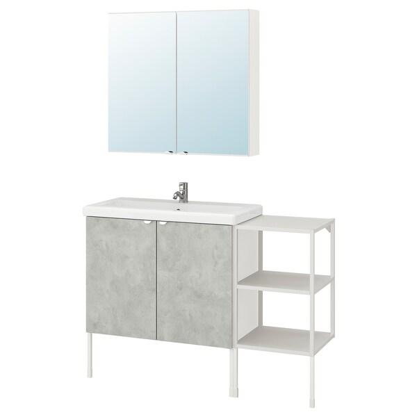ENHET / TVÄLLEN Mobles de bany, joc de 14, efecte ciment/blanc Aixeta Pilkån, 122x43x87 cm