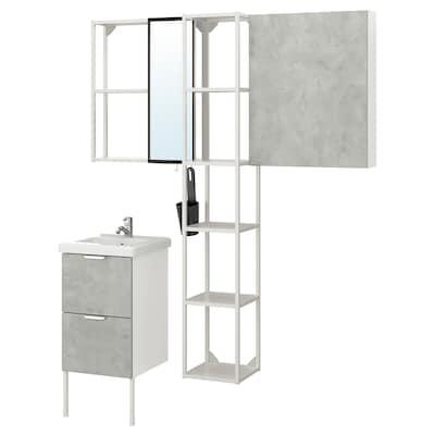 ENHET / TVÄLLEN Mobles de bany, joc de 16, efecte ciment/blanc Aixeta Pilkån, 44x43x87 cm