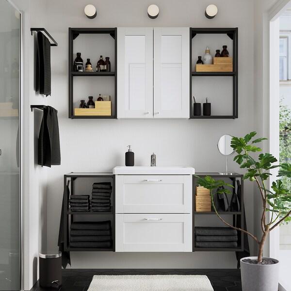 ENHET / TVÄLLEN Mobles de bany, joc de 18, blanc estructura/antracita Lillsvan aixeta, 140x43x65 cm