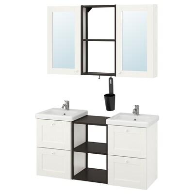 ENHET / TVÄLLEN Mobles de bany, joc de 22, blanc estructura/antracita Lillsvan aixeta, 124x43x65 cm