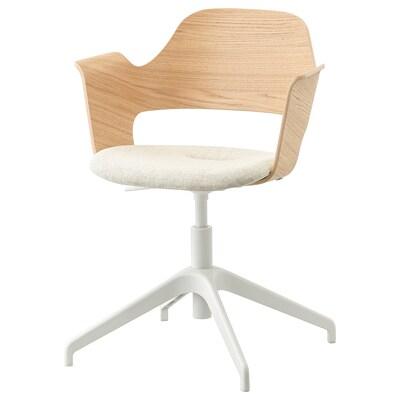 FJÄLLBERGET Cadira reunions, fullola roure tint blanc/Gunnared beix