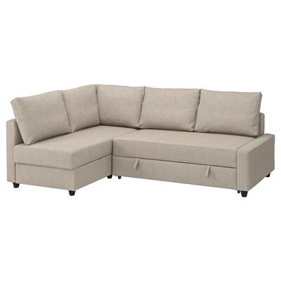 FRIHETEN Sofà llit cantoner +emmagatzematge, amb coixins respatller addicionals/Hyllie beix