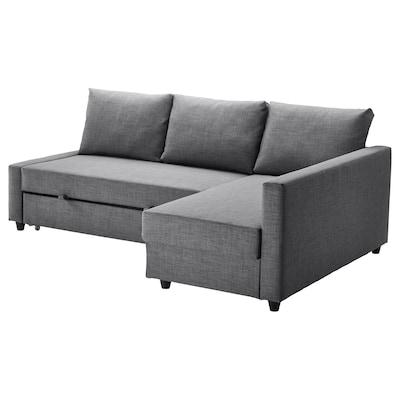 FRIHETEN Sofà llit cantoner +emmagatzematge, Skiftebo gris fosc