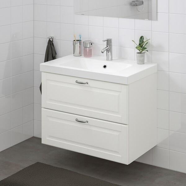 GODMORGON Moble per lavabo amb 2 calaixos, Kasjön blanc, 80x47x58 cm